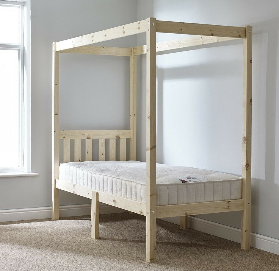 3ft Single Solid Pine 4 Poster Bed