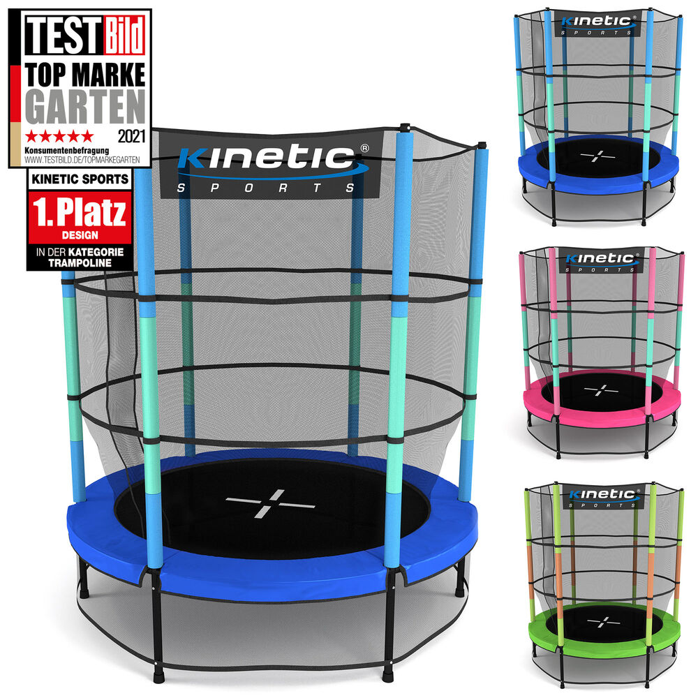 kinetic sports kinder trampolin mit sicherheitsnetz indoor outdoor garten 140cm ebay. Black Bedroom Furniture Sets. Home Design Ideas