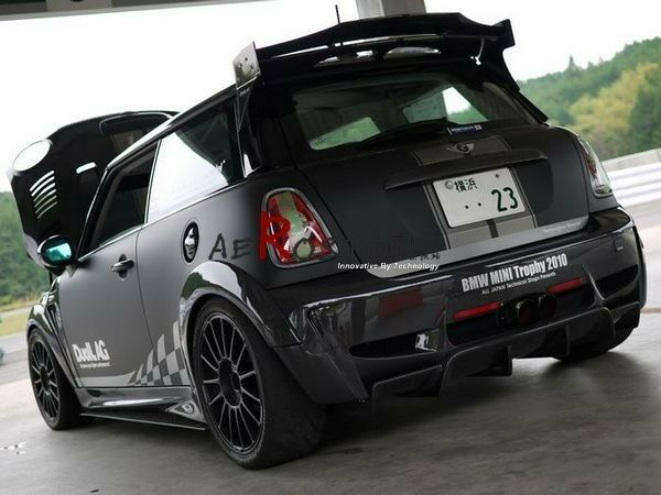 frp fiber glass duell ag style rear roof spoiler wing for mini cooper s r56 ebay. Black Bedroom Furniture Sets. Home Design Ideas