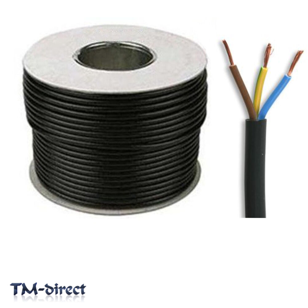 5 Wire Electrical Cable : Y core mm round black mains electrical cable flex