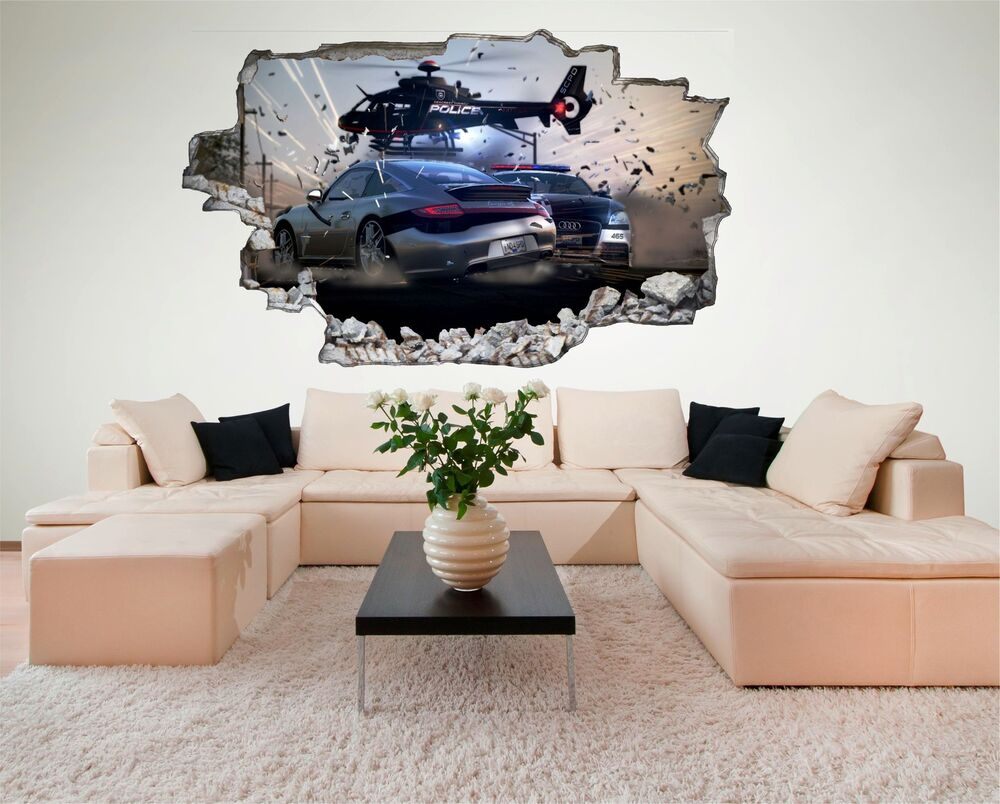 wandtattoo polizei verfolgung hubschrauber wandsticker 3d optik aufkleber c545 ebay. Black Bedroom Furniture Sets. Home Design Ideas
