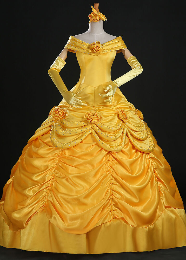 Belle Adult Costume Beauty and The Beast Dress Cloak ...
