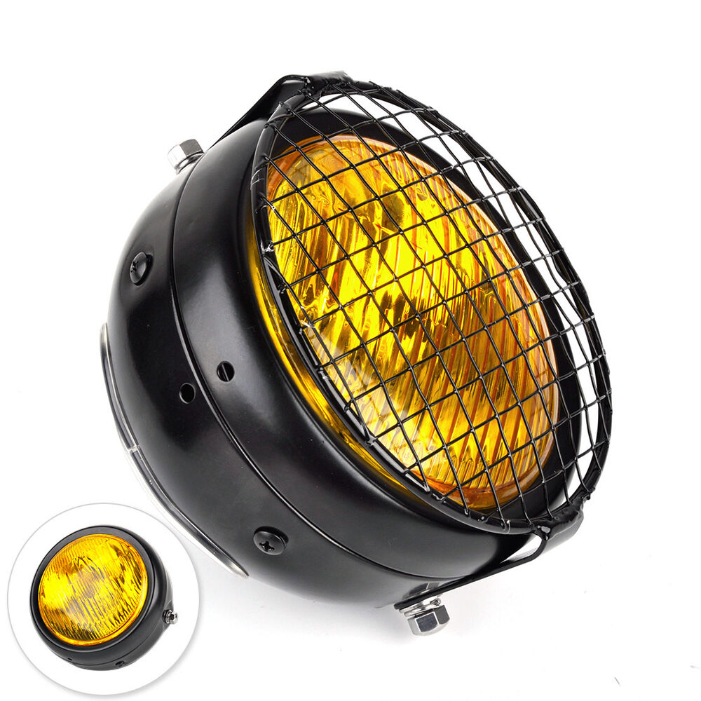 retro 12v runde motorrad headlight scheinwerfer moped. Black Bedroom Furniture Sets. Home Design Ideas