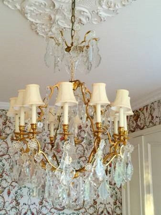 Antique Vintage French Crystal Bronze Brass Chandelier Ebay
