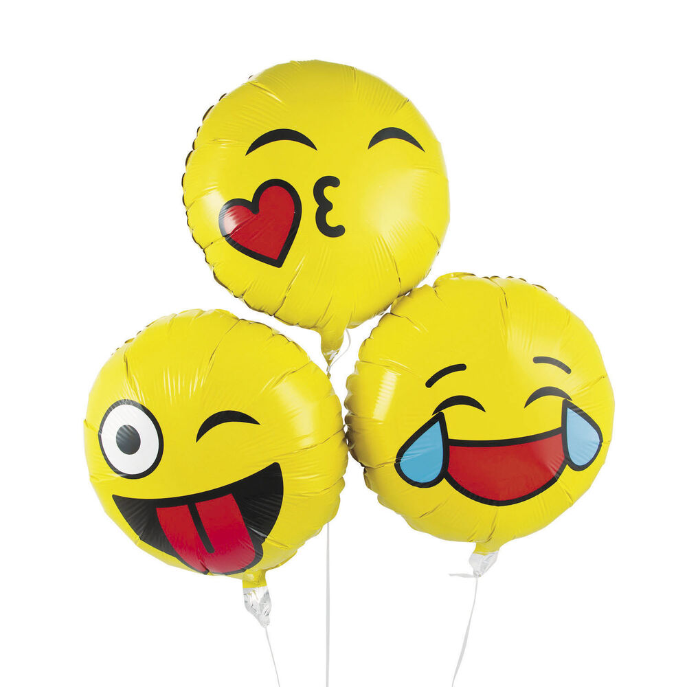 Details About 3 Emoji Mylar Balloons Emoticon Birthday Party Favors DECORATIONS