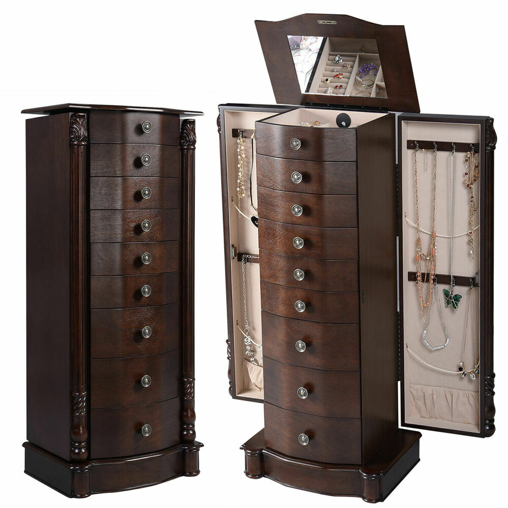 Wood Jewelry Cabinet Armoire Box Storage Chest Stand ...