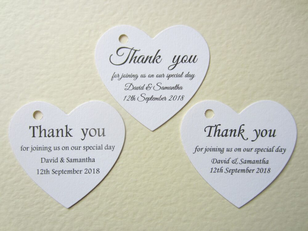 Thank You Card Wedding Gift: Personalised Heart Wedding Thank You Cards Tags Guest