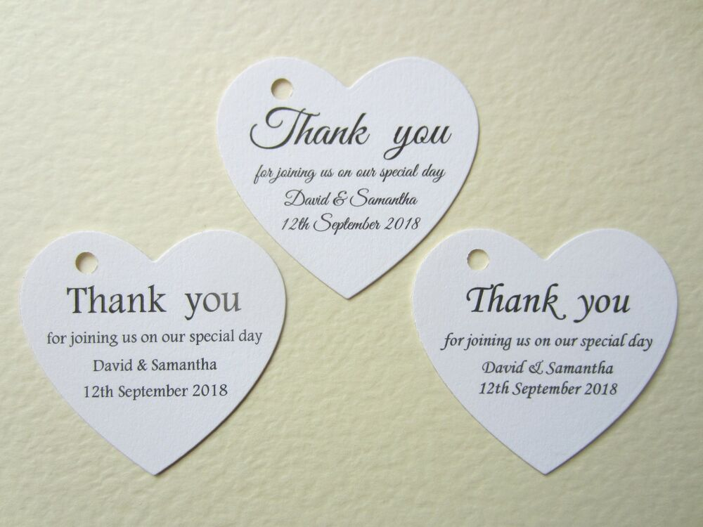 Wedding Gift Thank You Greetings : ... Heart Wedding Thank You Cards Tags Guest Favour Gift Place Name eBay
