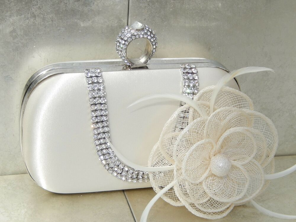 Ivory Clutch Bag And Fascinator Set Occasion Wedding Prom Ladies Day Races UK   EBay