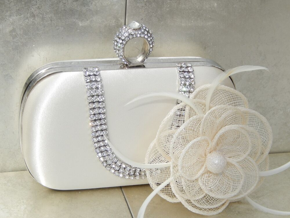 Ivory Clutch Bag And Fascinator Set Occasion Wedding Prom Ladies Day Races UK | EBay