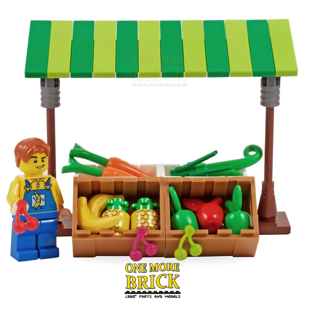 Lego Toy Food : Lego market shop fruit veg greengrocer with minifigure