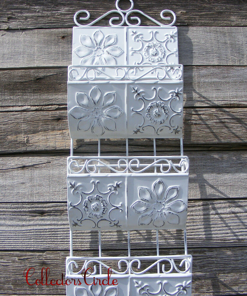 Antique Shabby Style White Metal Wall Letter Mail Holder
