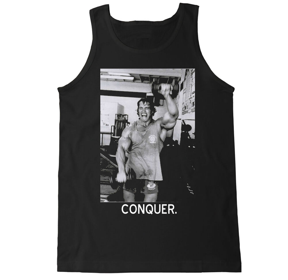 3099ad2419d1 Details about ARNOLD CONQUER LIFT WORKOUT BEAST DEADLIFT GYM SQUAT FITNESS  WHEY MENS TANK TOP