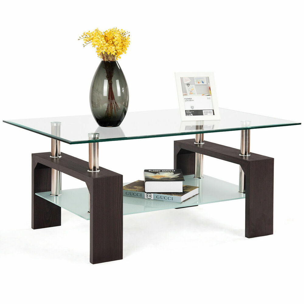 Rectangular Tempered Glass Coffee Table W/Shelf Wood