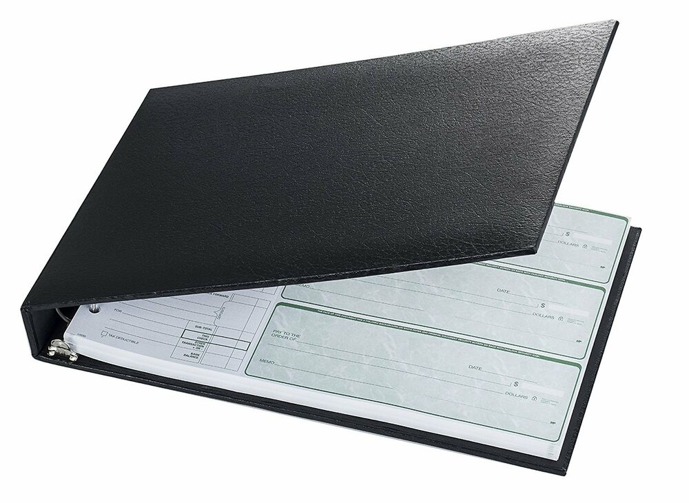 Business Cheque Book Covers : Ring on a page business check book binder black new