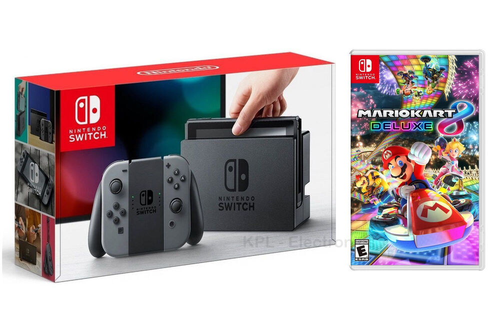 nintendo switch 32gb gray system mario kart 8 deluxe game bundle fast ship ebay. Black Bedroom Furniture Sets. Home Design Ideas