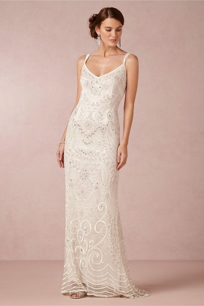 Theia Elsa Art Deco Beaded Bridal Wedding Gown with Overskirt NWT ...