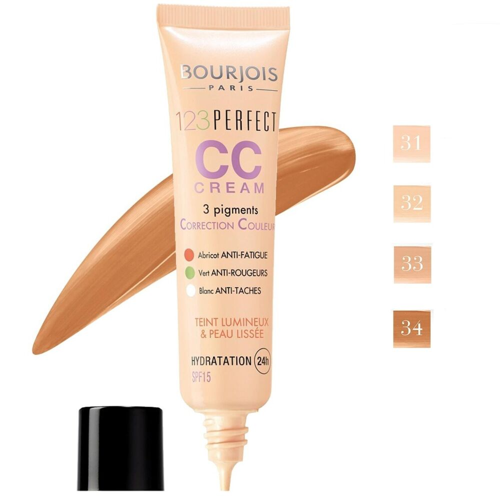 bourjois 123 perfect cc cream foundation 24h hydration spf 15 30ml shades ebay. Black Bedroom Furniture Sets. Home Design Ideas