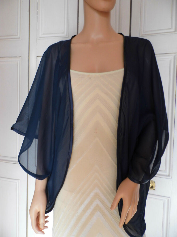 Navy Chiffon Kimono Wrap Wedding Evening Shrug Bolero