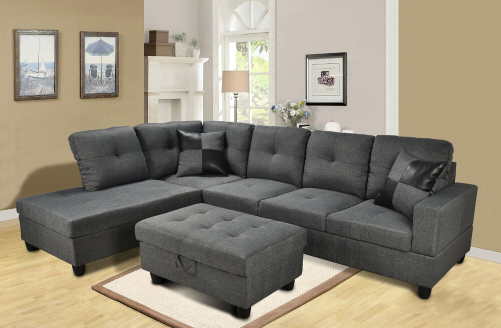 Beverly gray 3 piece microfiber sectional sofa set with for Doris 3 piece sectional sofa