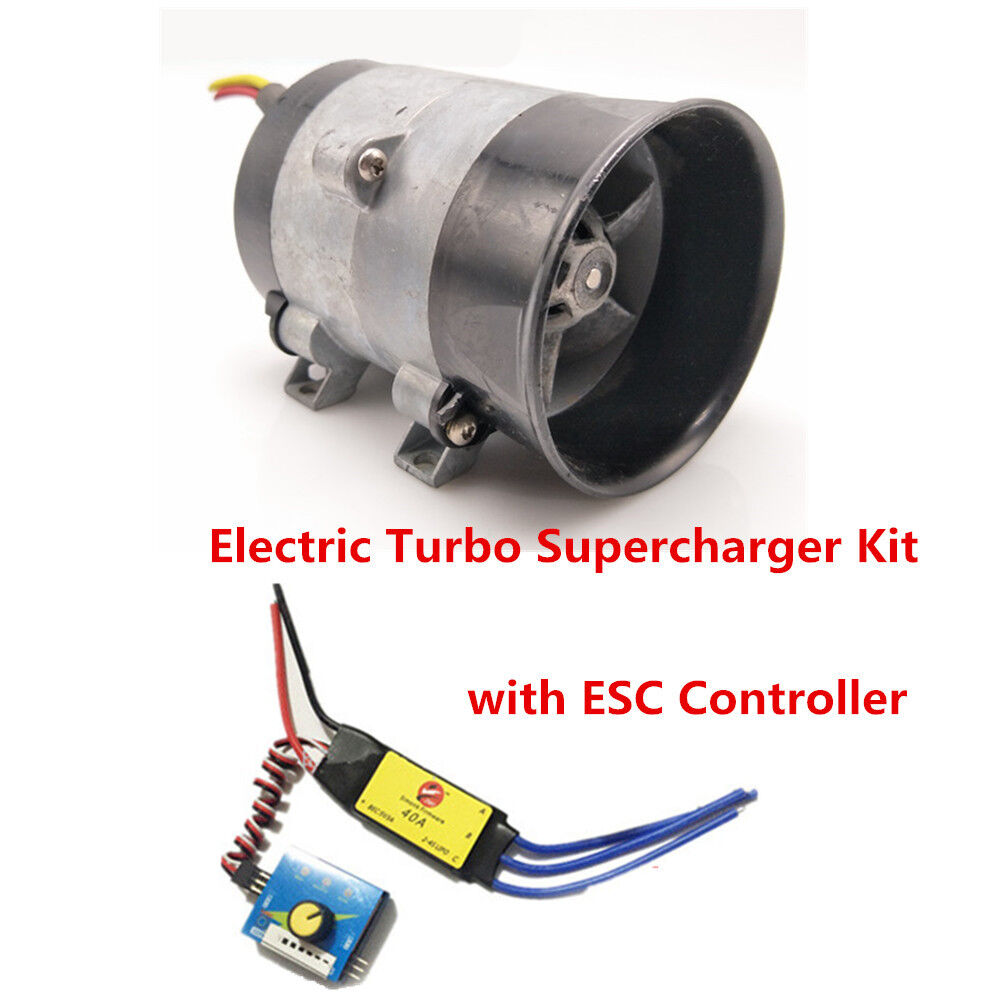 Details About 12v Car Electric Turbo Supercharger Kit Air Intake Fan Boost Thick Wire W Esc