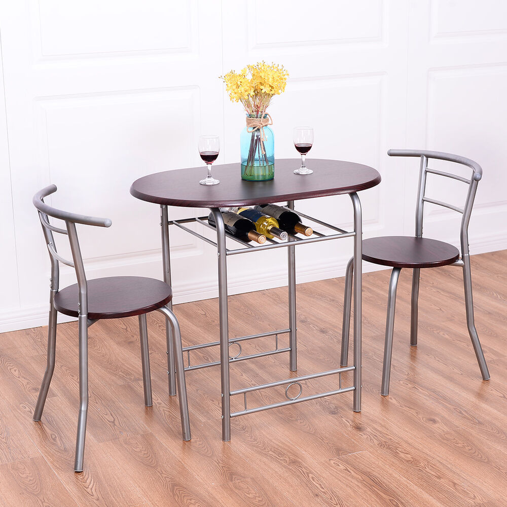 3 pcs bistro dining set table and 2 chairs kitchen pub for Kitchenette sets furniture