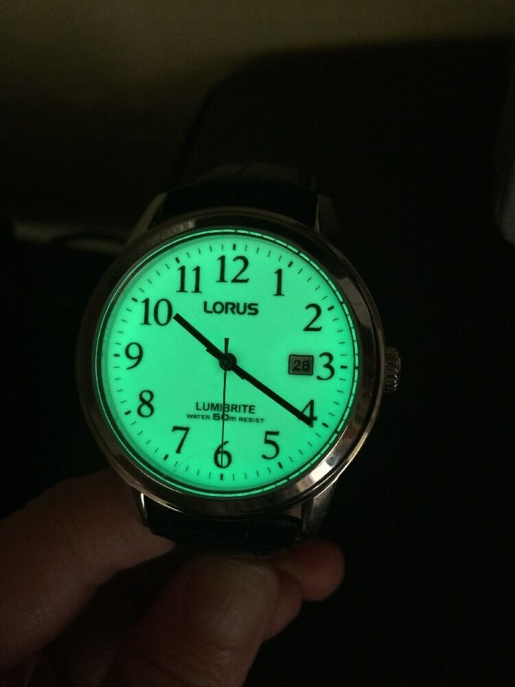 Lorus mens watch lumibrite japan movt black leather strap 855 ebay for Watches of japan