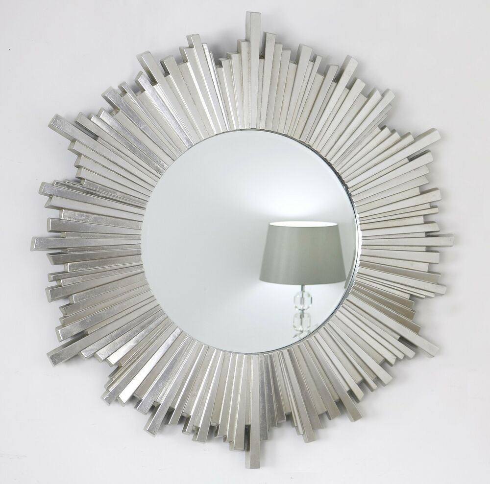 Hamilton silver sunburst art deco round wall mirror 40 x for Large silver modern mirror