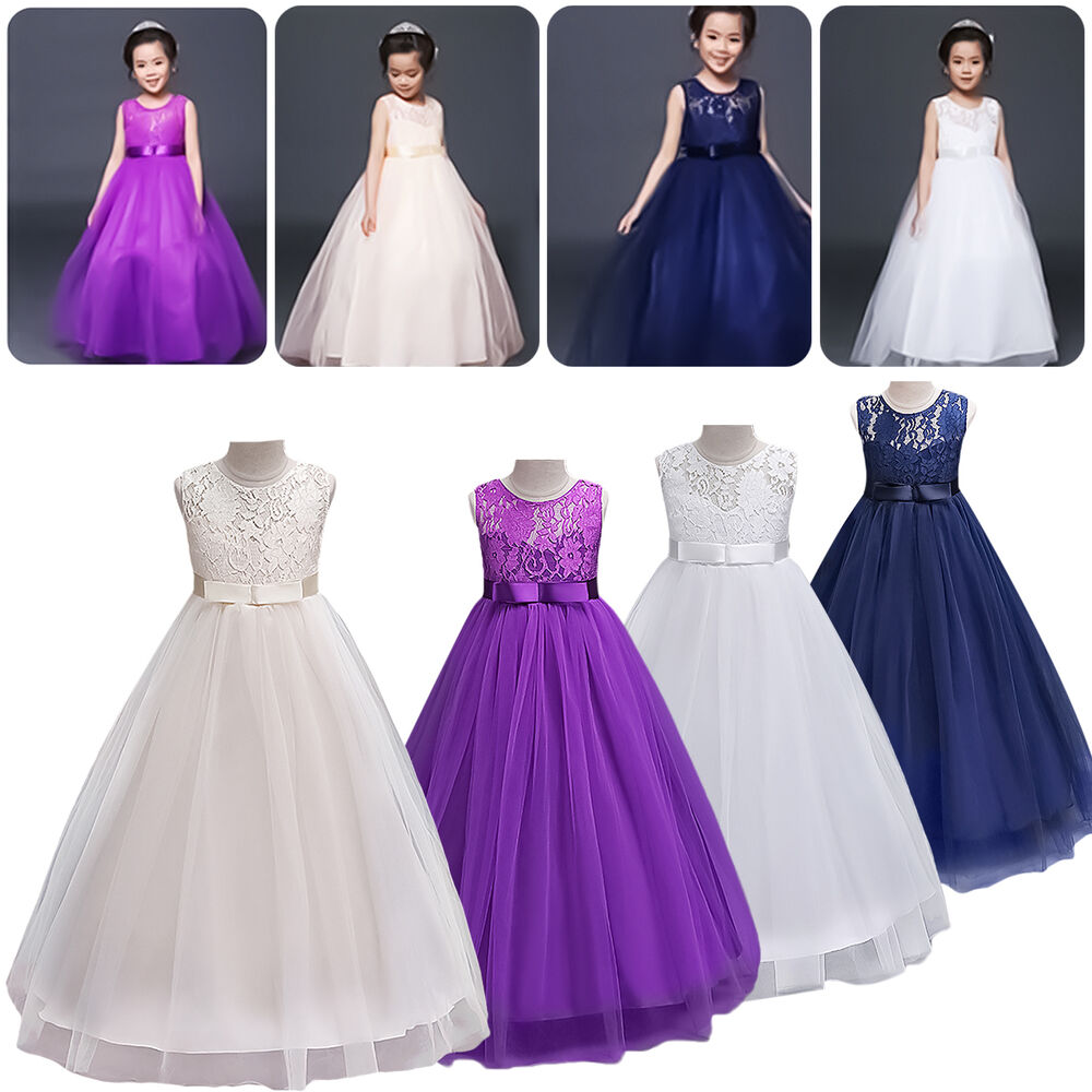 Lace flower girl dresses birthday wedding bridesmaid for Ebay wedding bridesmaid dresses