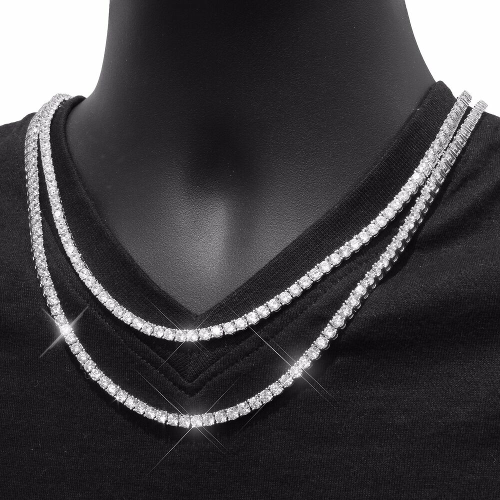 Mens Tennis Necklace 14k White Gold Finish Lab Diamonds