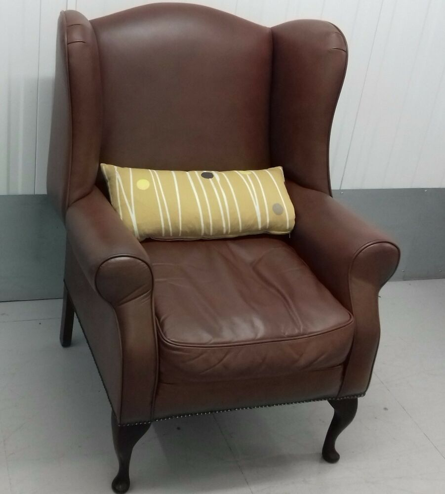 Laura ashley 39 denbigh 39 armchair brown leather wing back chair fireside ebay - Laura ashley office chair ...