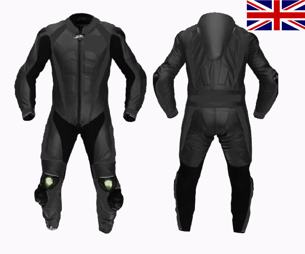 one piece full black Motorcycle Leather Suit MOTOGP Motorbike Leathers new 2 PC | eBay