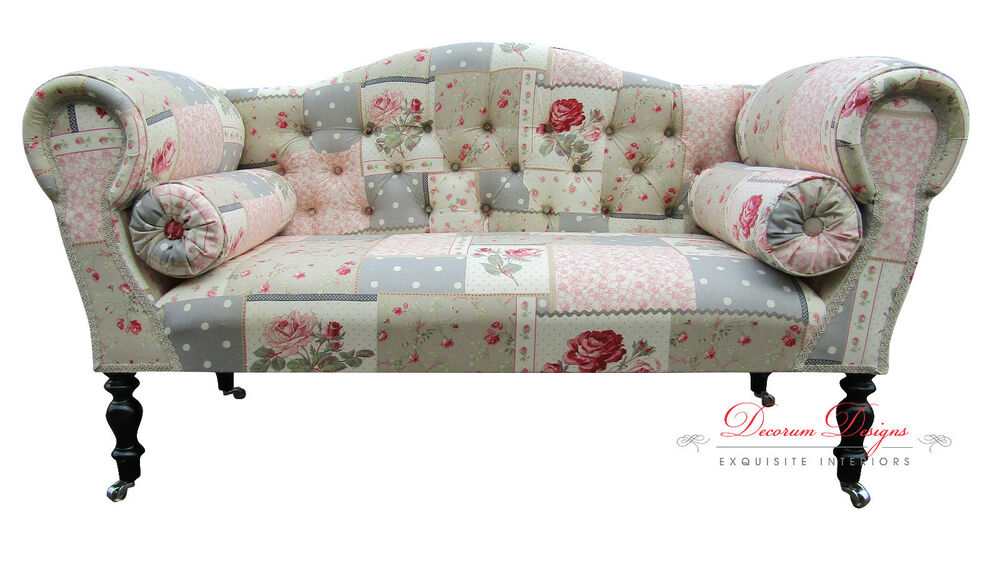 Gorgeous quirky patchwork print double ended chaise sofa for Chaise patchwork