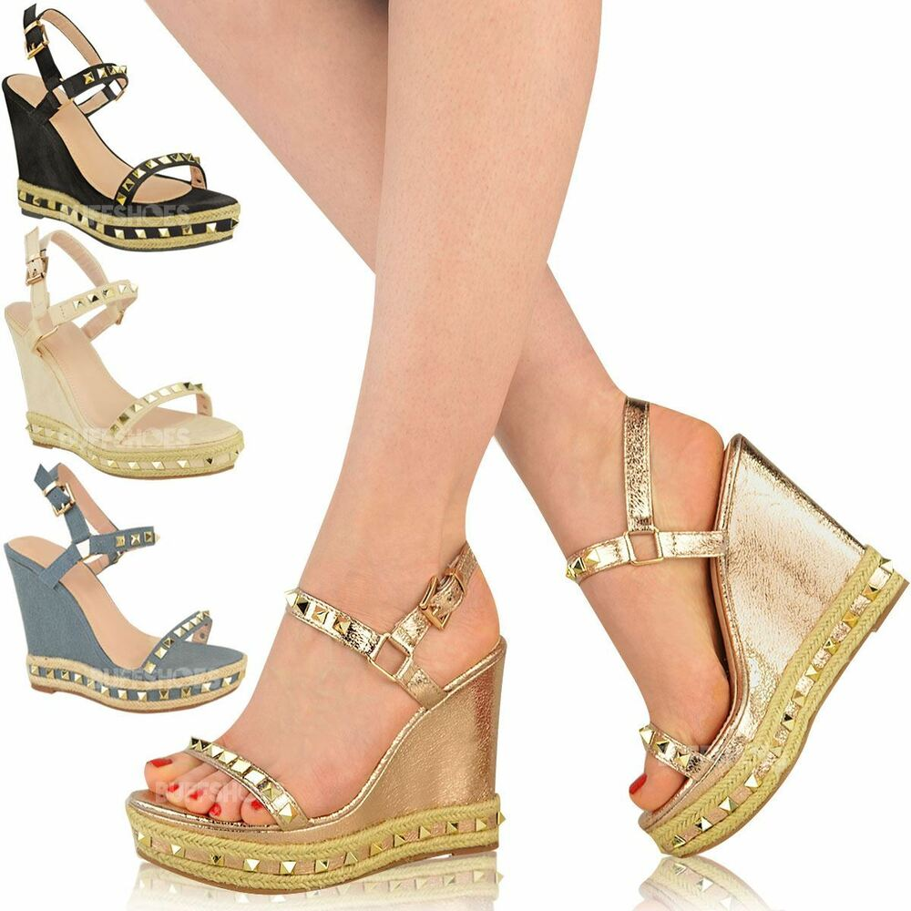 cf5f9d2f3f8c07 Details about Womens Ladies Studded Espadrille Wedge High Heel Sandals Ankle  Strap Shoes Size