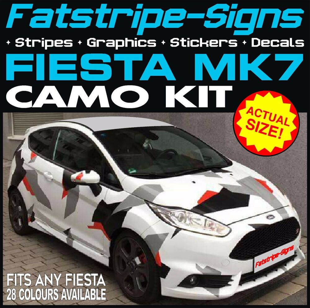 Ford fiesta mk7 graphics camo stickers decals bonnet roof camouflage st zetec rs ebay
