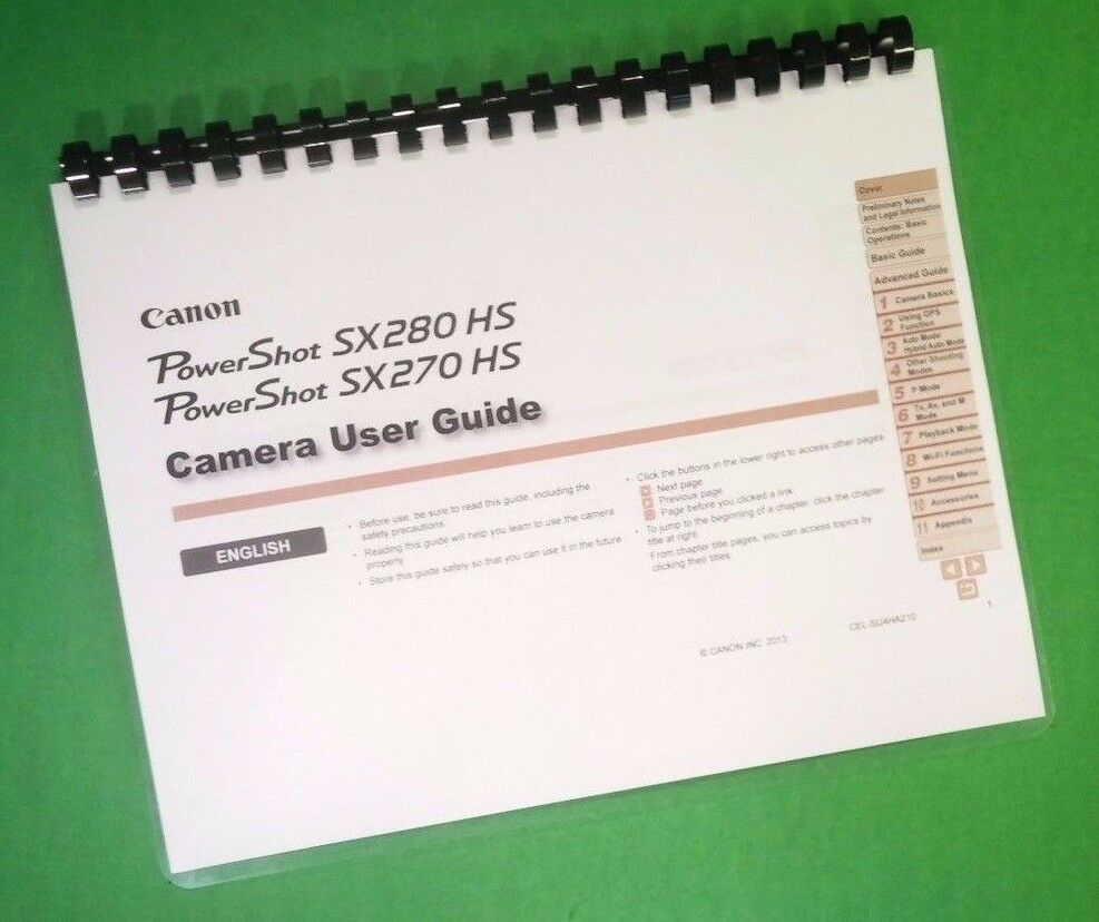 """Details about LASER 8.5X11"""" Canon SX270IS SX280IS Full Camera 197 Page  Owners Manual Guide"""