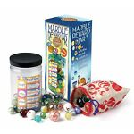 School Childrens Marble Reward Jar 50 Glass Marbles Indoor Game Educational