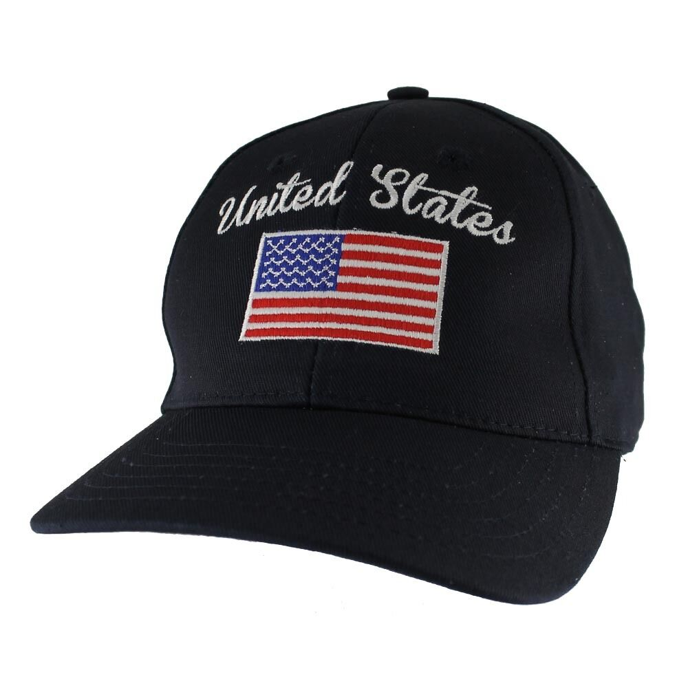 3054bb2e2dc Details about Navy US American Flag Patch United States America Baseball  Hat Cap Made In USA
