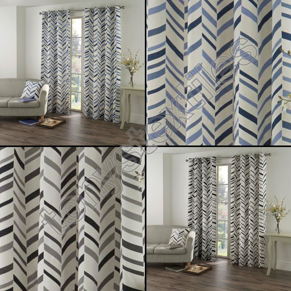 Kato Chevron Striped Ring Top Lined Pair Eyelet Curtains