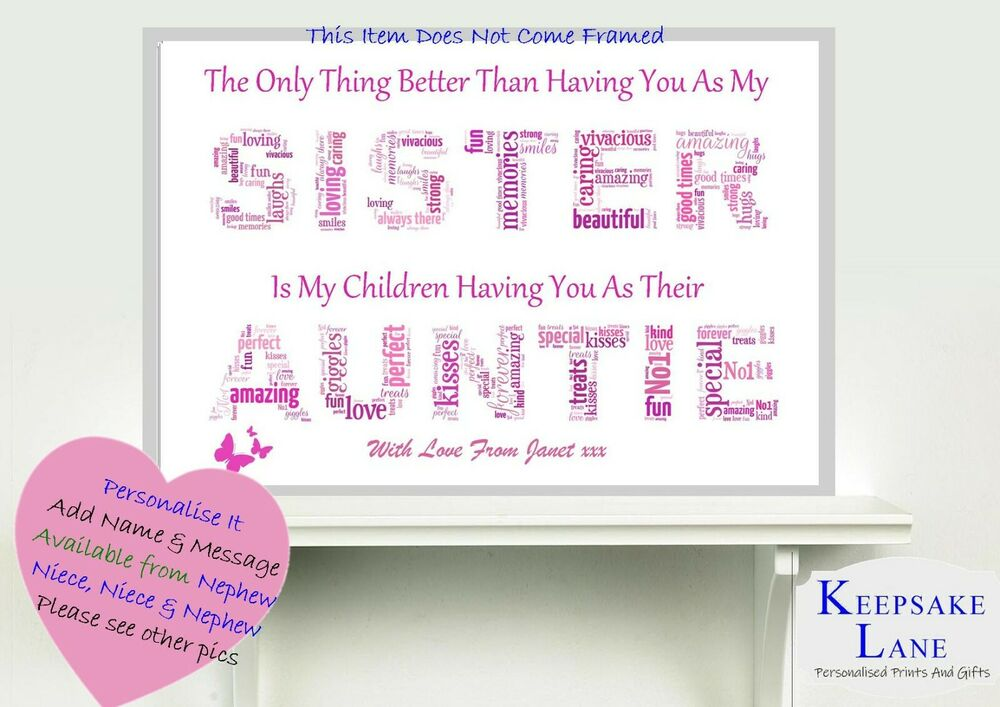 Auntie gifts home furniture diy ebay sister auntie aunt christmas gift birthday personalised word art present a4 negle Gallery