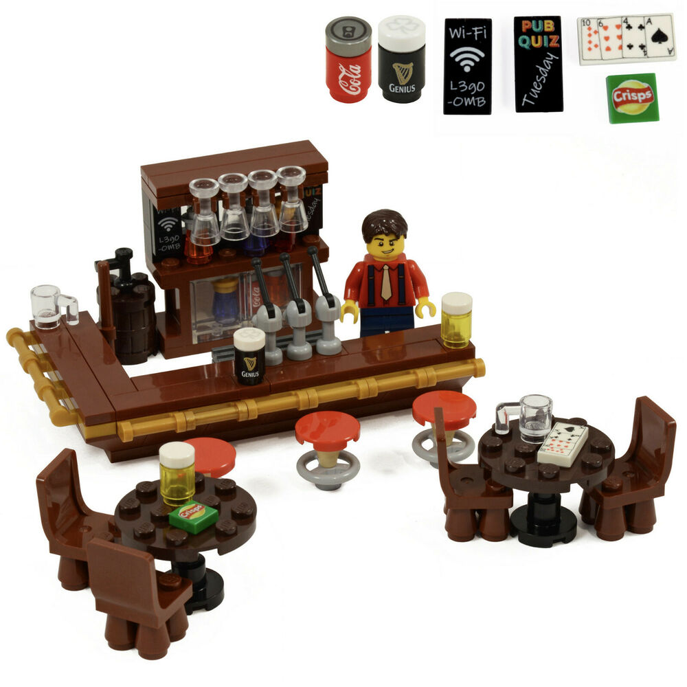 Lego Pub Drinking Bar With Barmaid Drinks Wine And