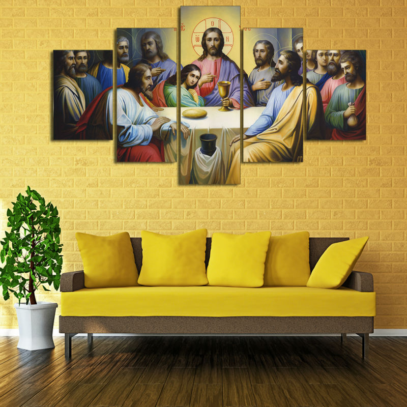 The Last Supper Painting Wall Art Canvas HD Print Christian Catholic ...