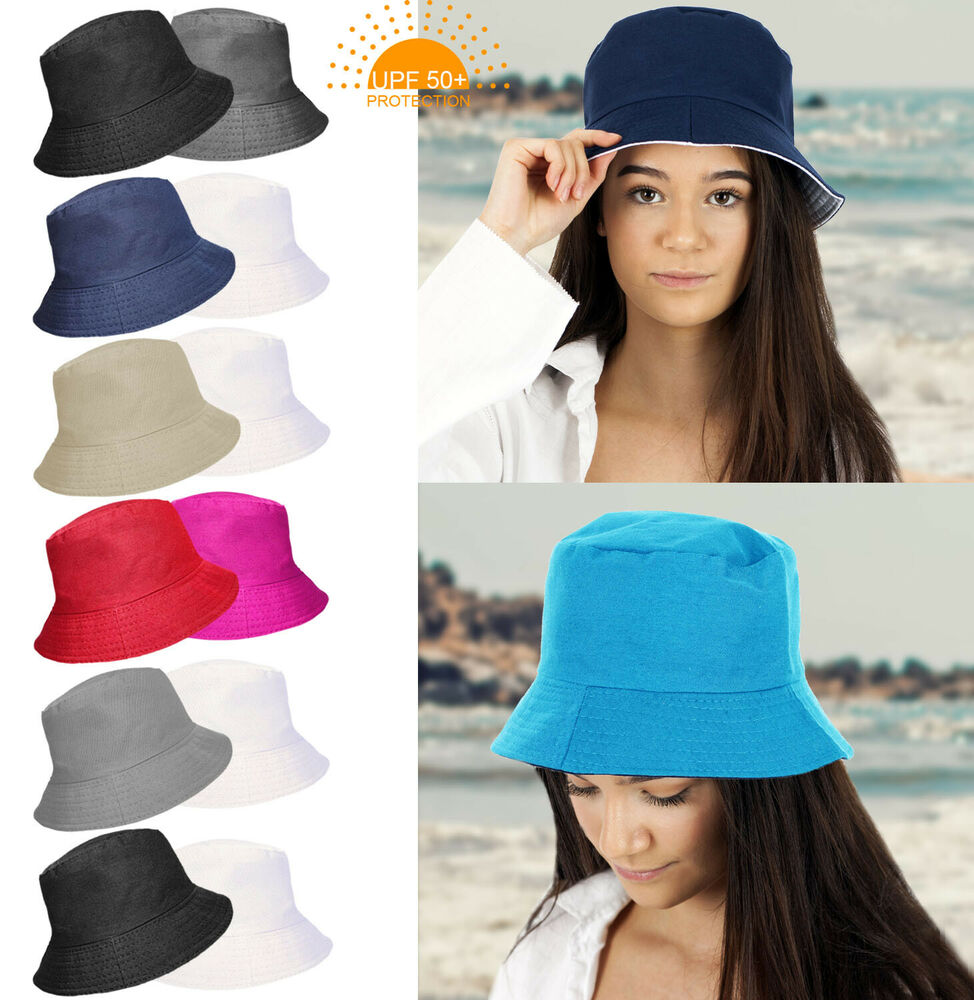 Details about UPF 50+ PROTECTION LADIES REVERSIBLE PLAIN COTTON BUCKET  SUMMER SUN HAT 2 IN 1 87ce9f36a4f