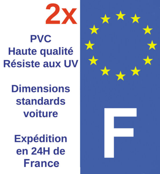 Sticker Autocollant F plaque d'immatriculation Adhésif HQ Département France X2