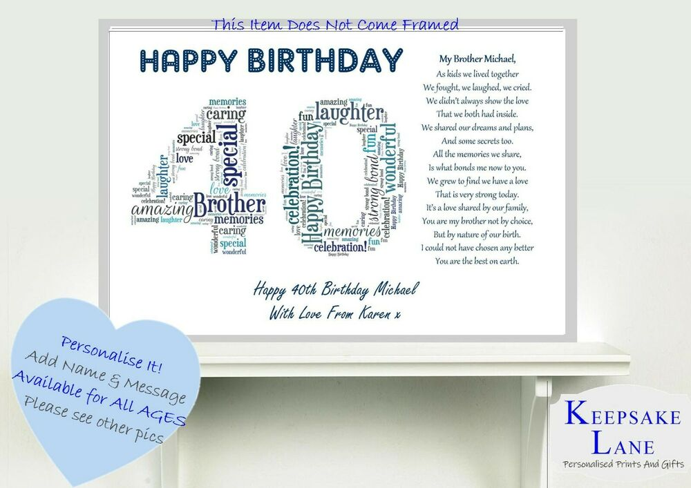 Details About Personalised Special Brother Poem Word Art 40 50 60 65th Birthday Gift Present