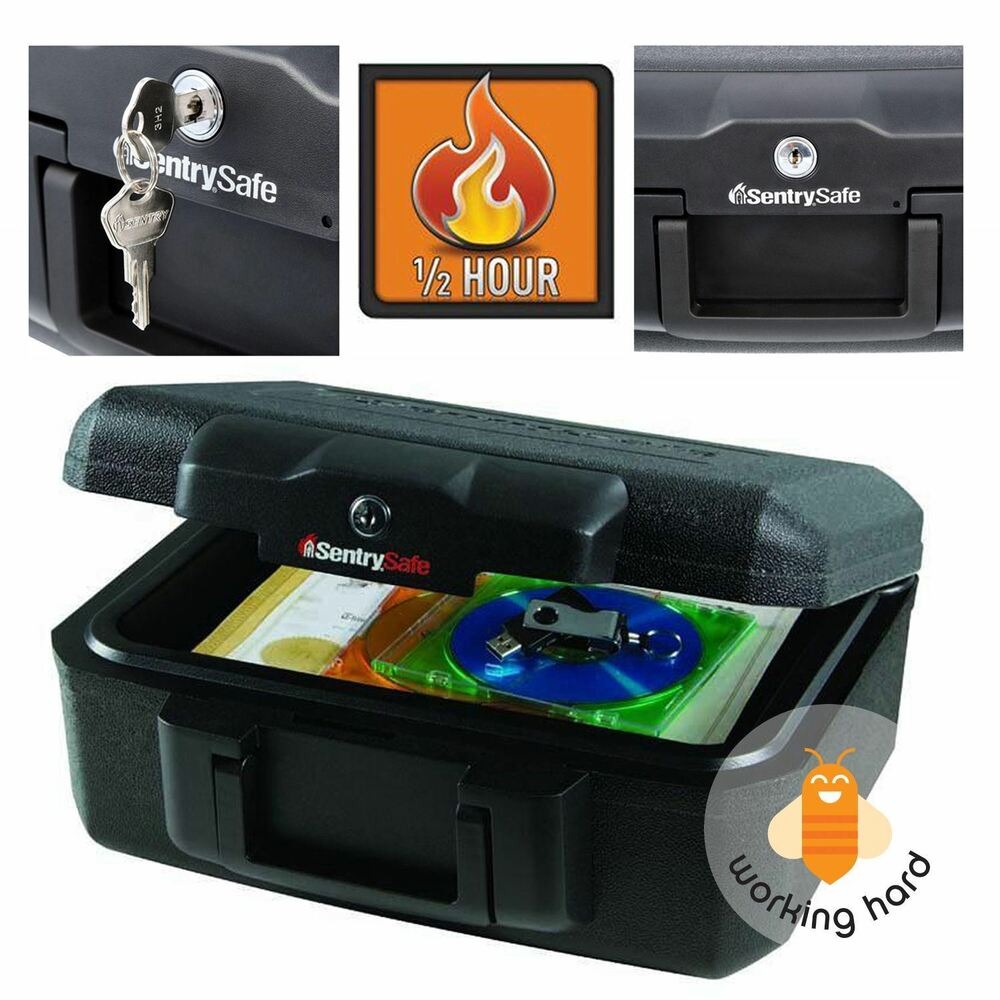 Fireproof Security Box Fire Safe Chest Key Lock Money Document Cash Storage Case