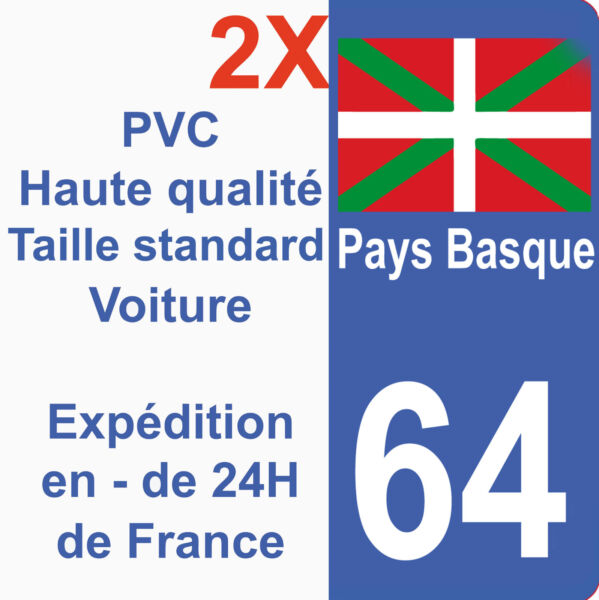 Autocollant Sticker plaque immatriculation département 64 Région Pays Basque HQ