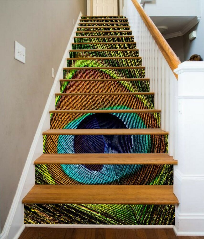 58 Cool Ideas For Decorating Stair Risers: 3D Peacock Feather Stair Risers Decoration Photo Mural