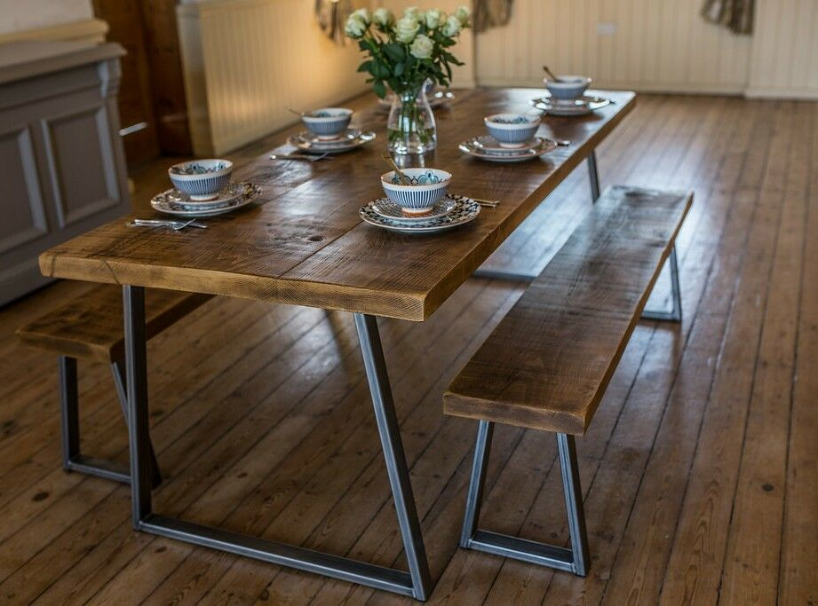 Industrial Style Dining Table And Bench Set Ebay