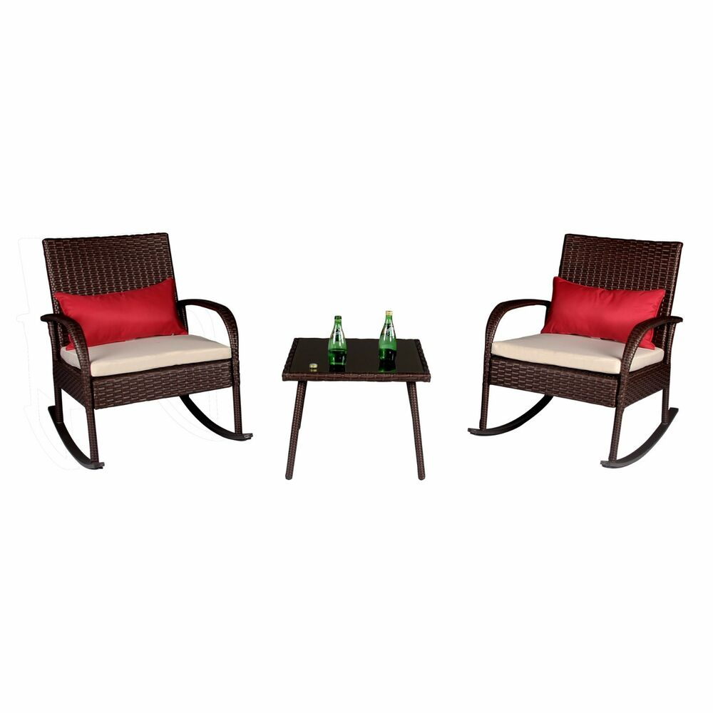 outdoor garden 3 pc rattan rocking chair set wicker bistro sectional furniture ebay. Black Bedroom Furniture Sets. Home Design Ideas